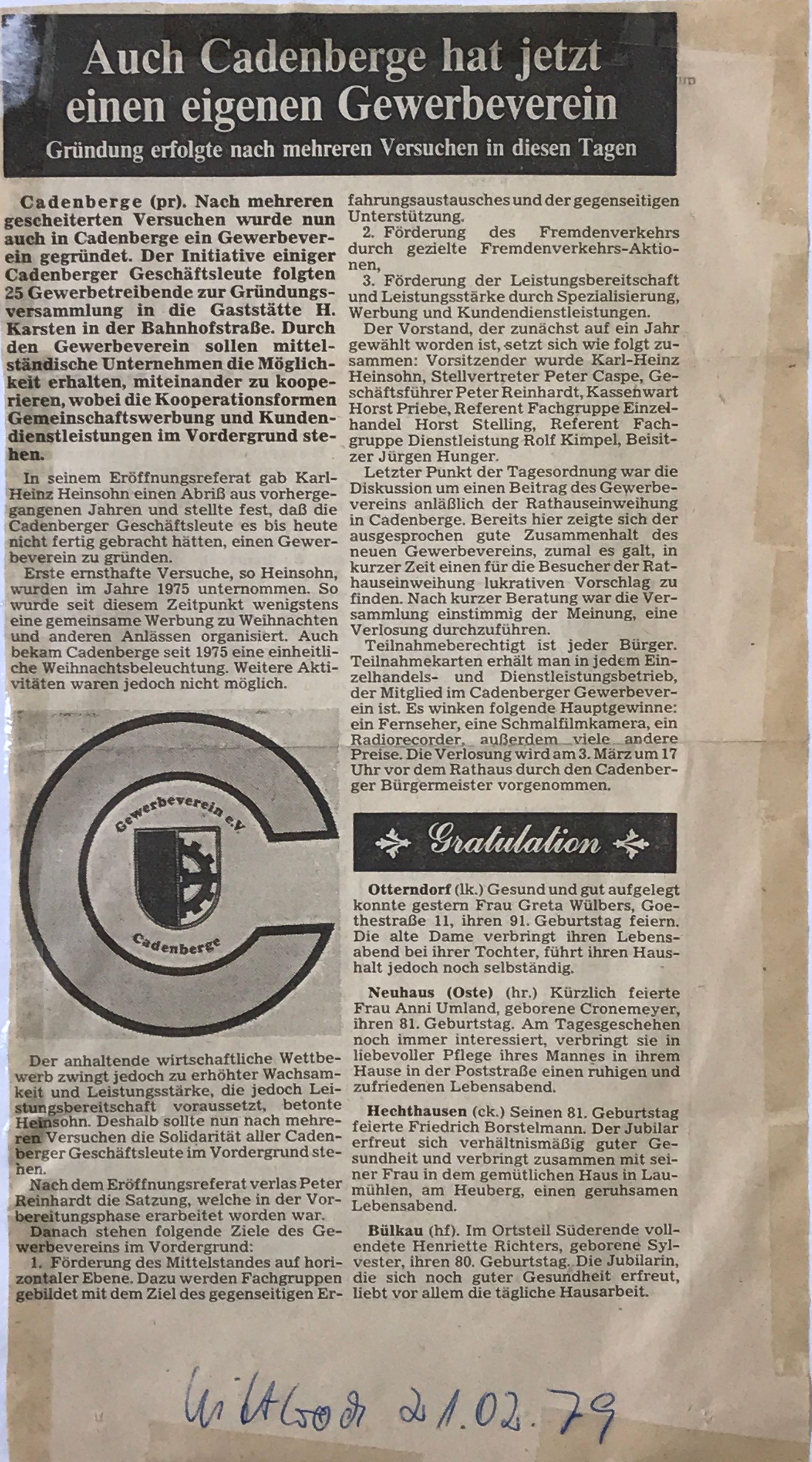 40 Jahre Gewerbeverein Cadenberge - 40 Jahre