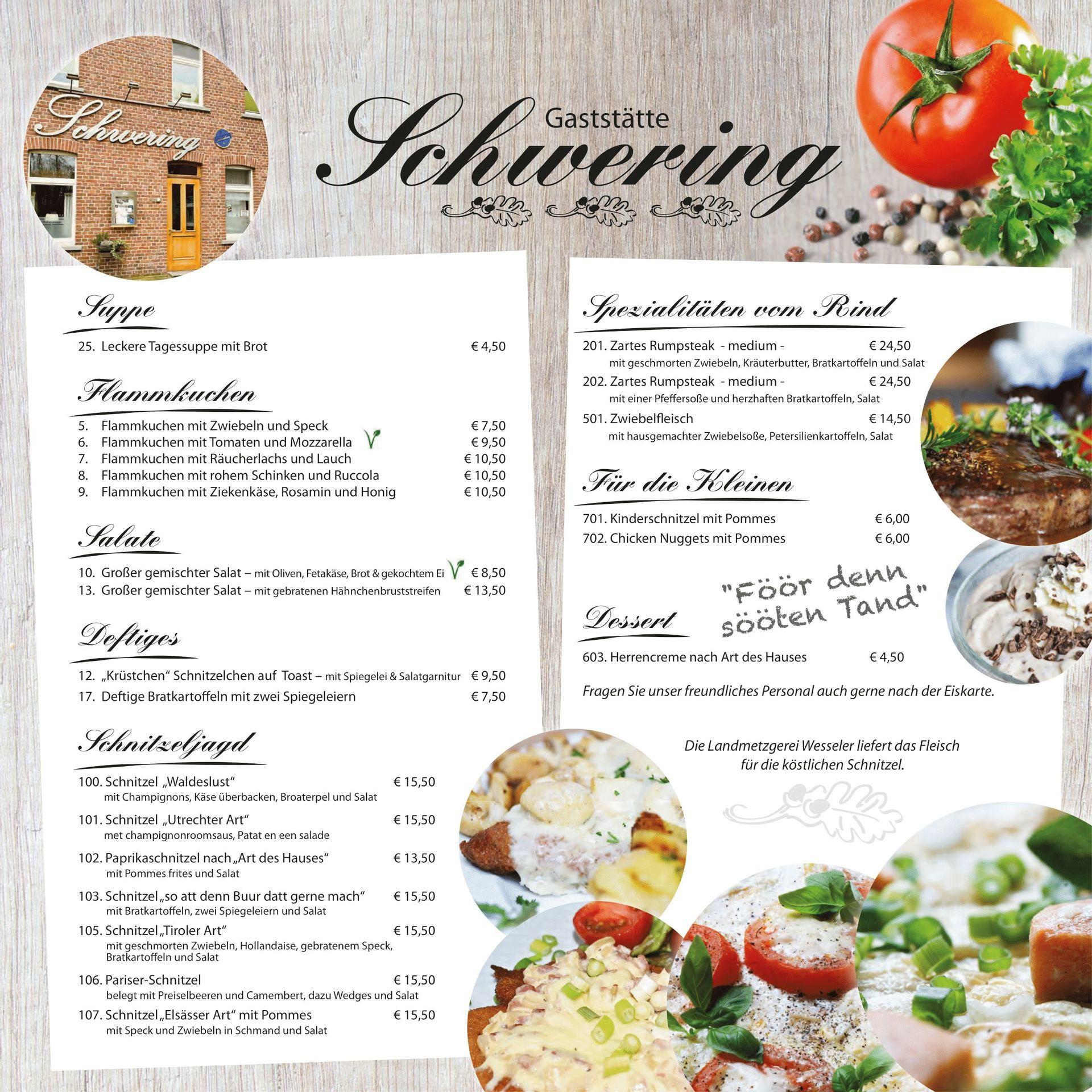 Speisekarte | Gaststätte Schwering