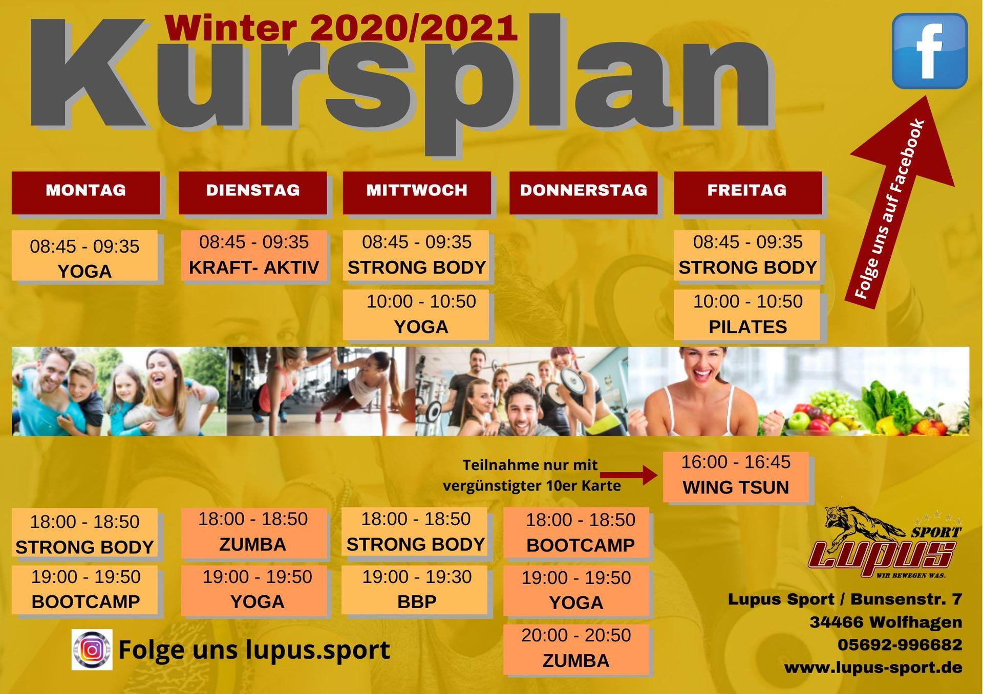 KURSPLAN ab 01.10.2020 | Lupus Sport