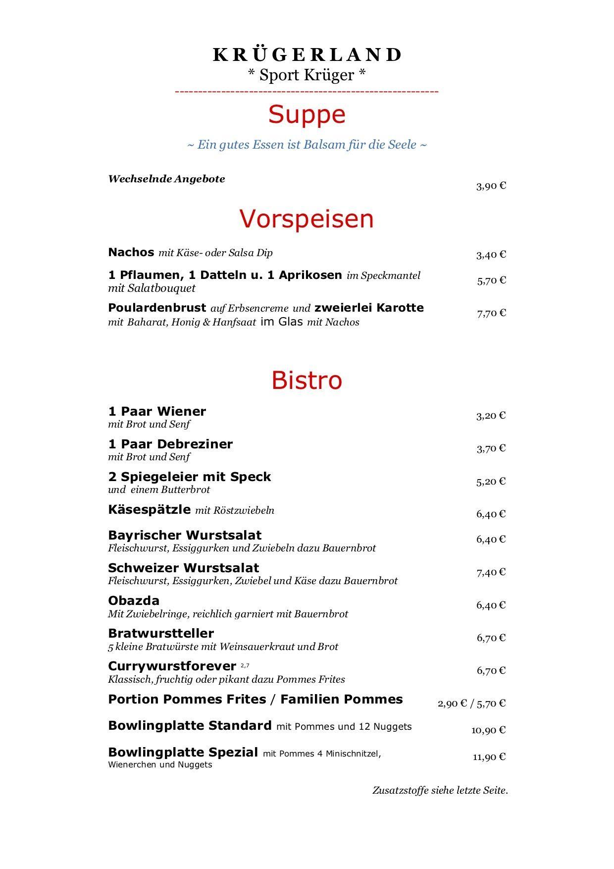 Speisekarte Sport Krüger | Krügerland