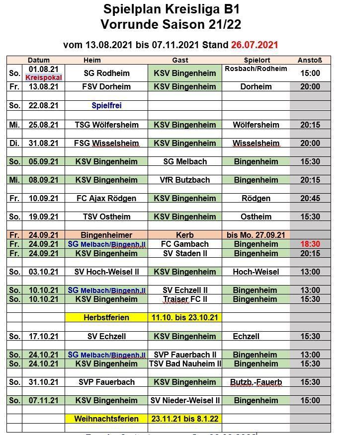 Spielplan 1. Mannschaft   KSV 1928 Bingenheim e.V.
