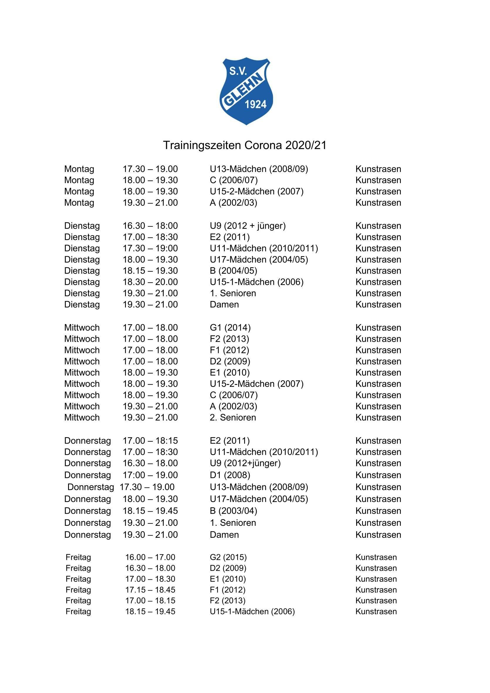 Trainingszeiten - gültig ab 25.Mai