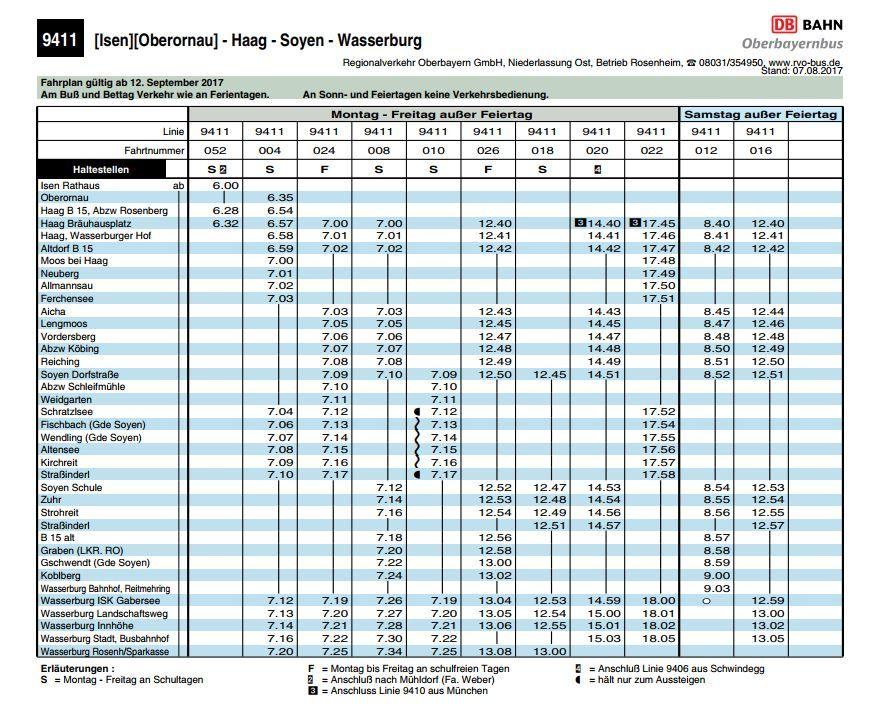 BUS 9411/94112 Isen-Haag-Wasserburg und zurück