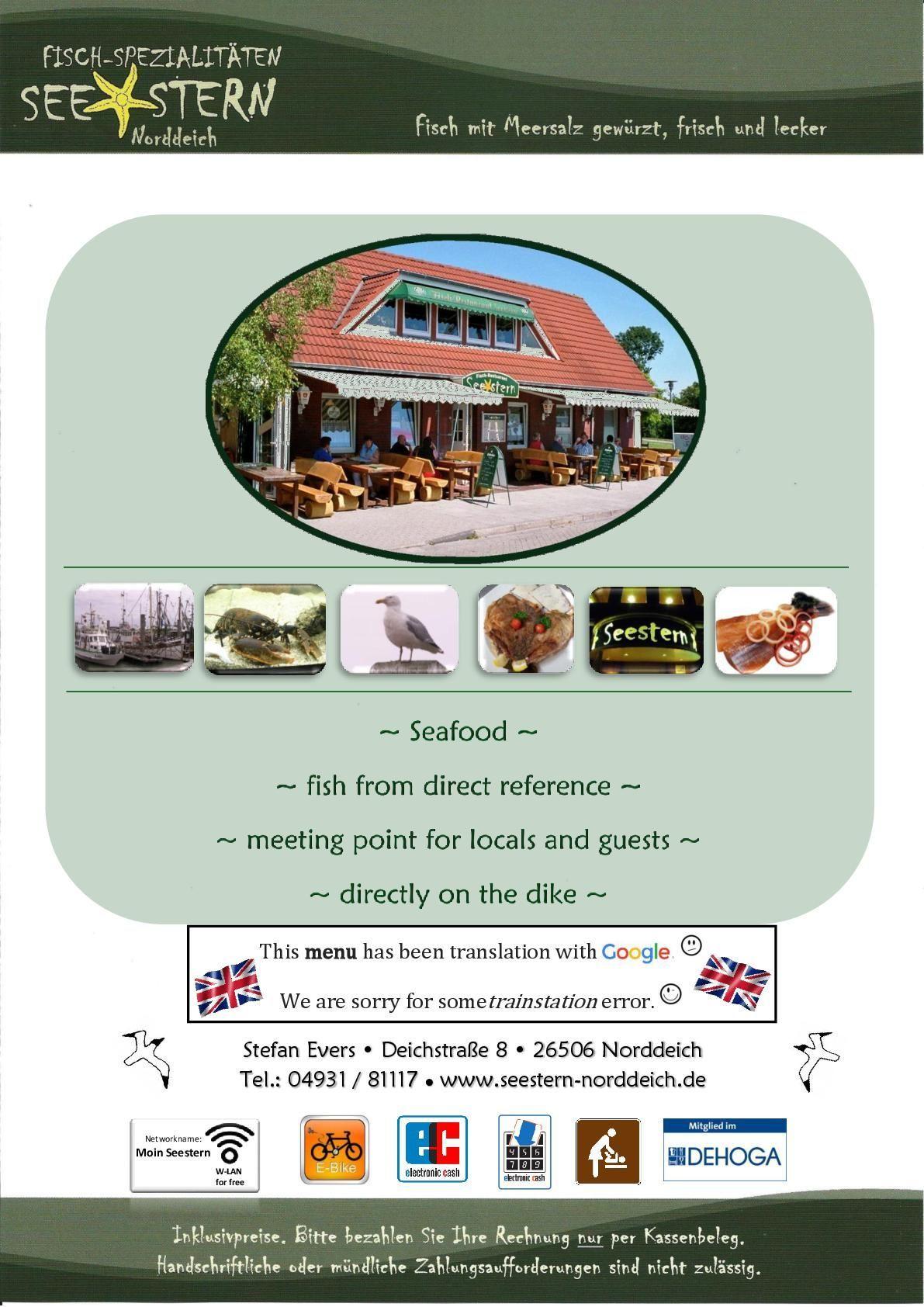 • Our Menu • | Fischspezialitäten Seestern