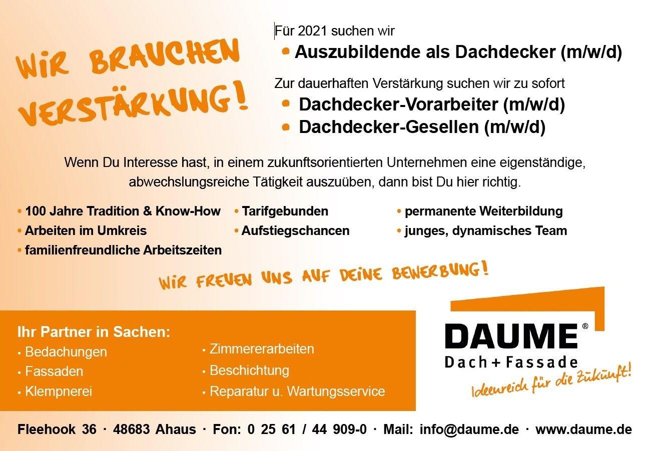 Jobs & Ausbildung   Helmut Daume Dach + Fassade