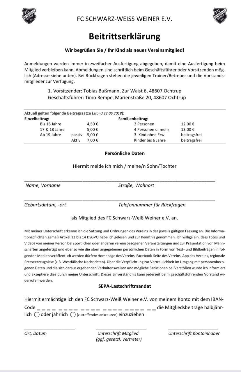 Beitrittserklärung | FC SW Weiner 1971 e.V.