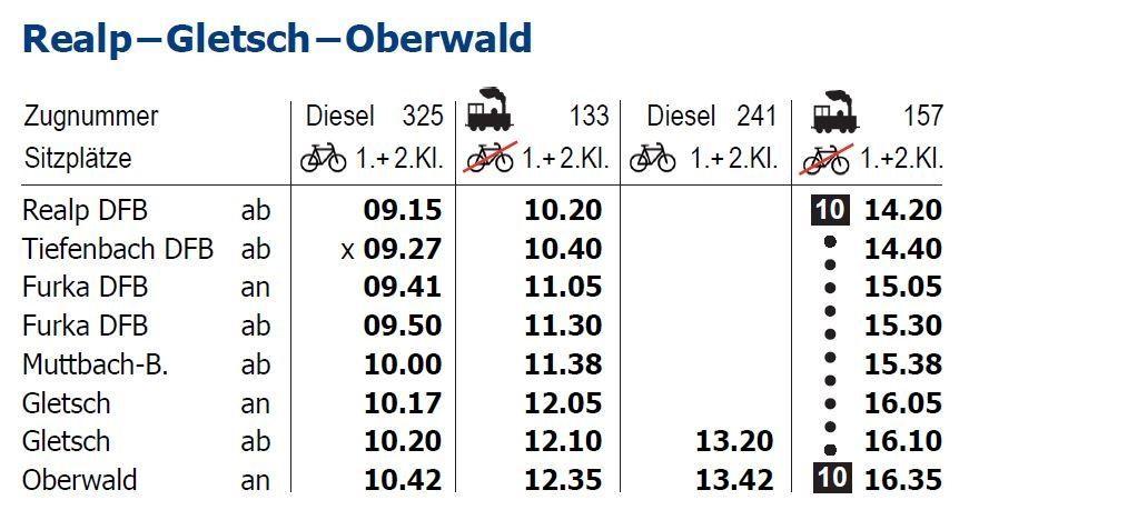 Fahrplan / Preise | Dampfbahn Furka-Bergstrecke