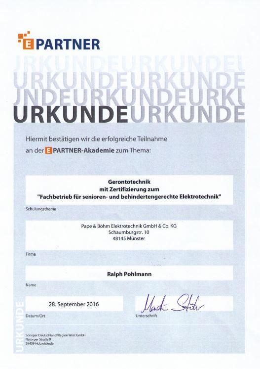 Unsere Zertifikate | Pape & Böhm Elektrotechnik