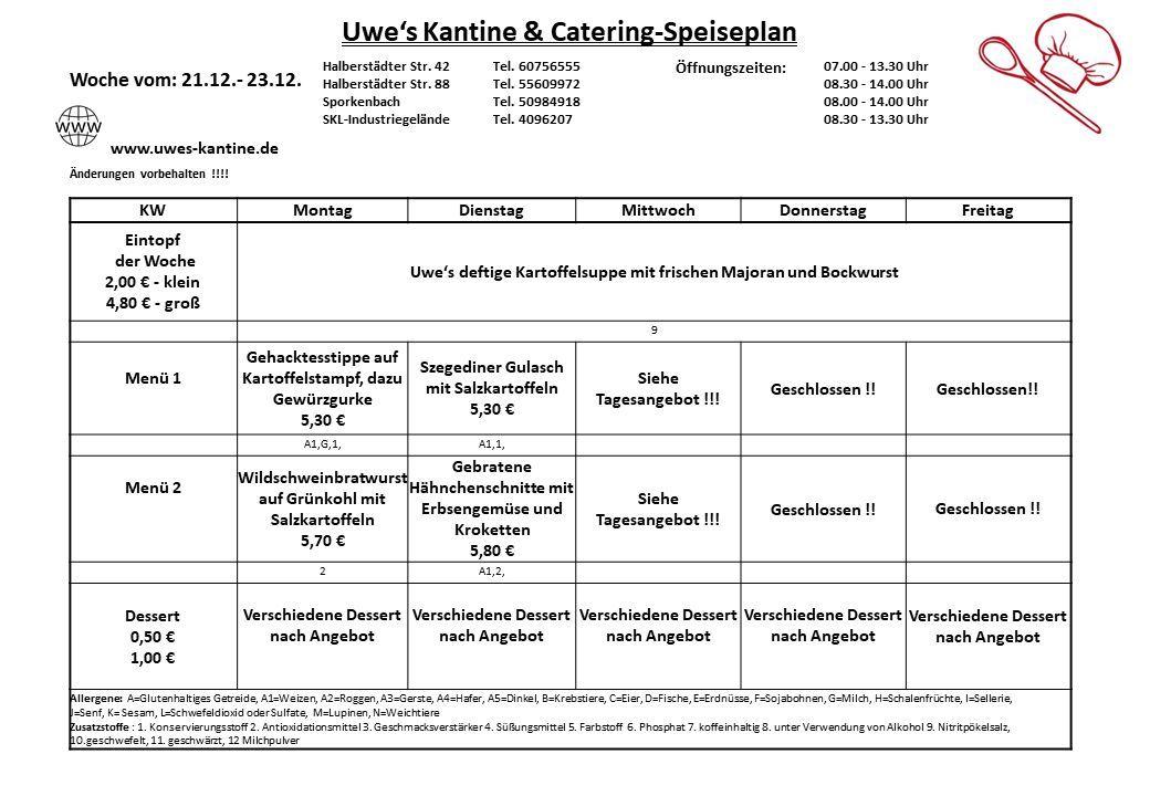 Speisepläne | Uwe's Kantine & Catering