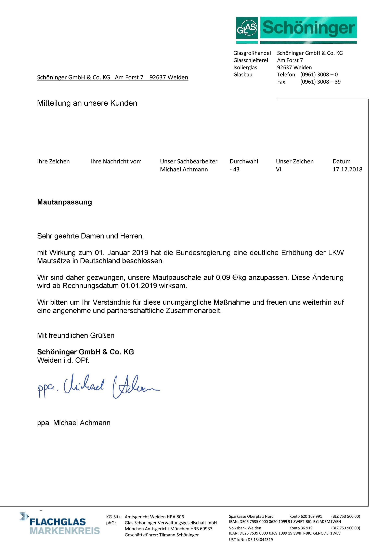 Kundeninformationen   Schöninger GmbH & Co KG