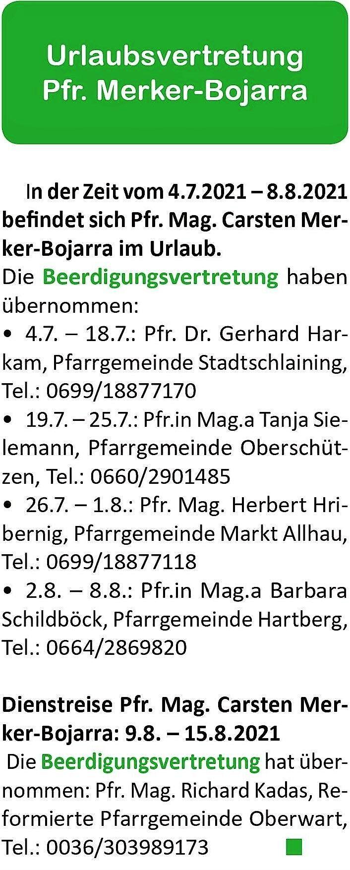 Evangelisches Pfarramt Bad Tatzmannsdorf und