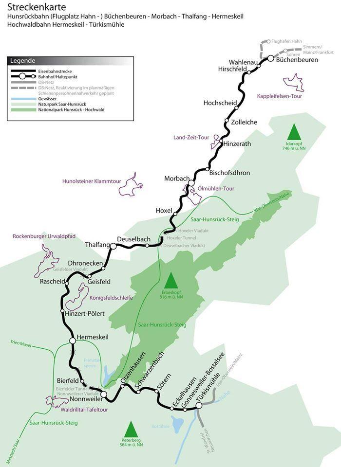 Hunsrückbahn, Hunsrückquerbahn, Nationalparkbahn,