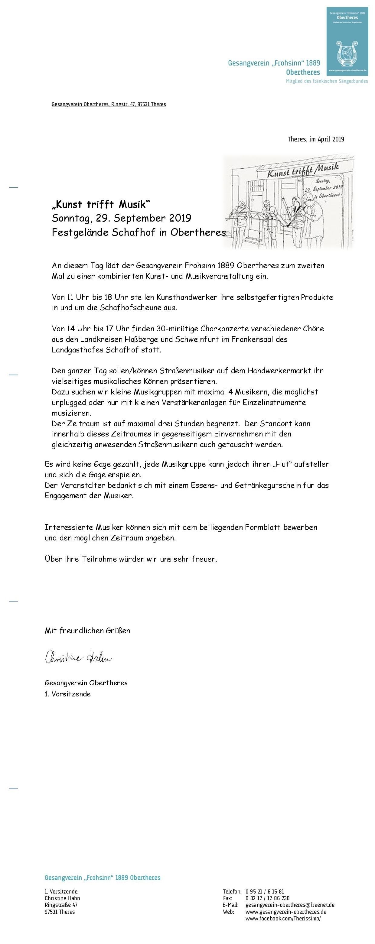 """Kunst trifft Musik"" am 29."