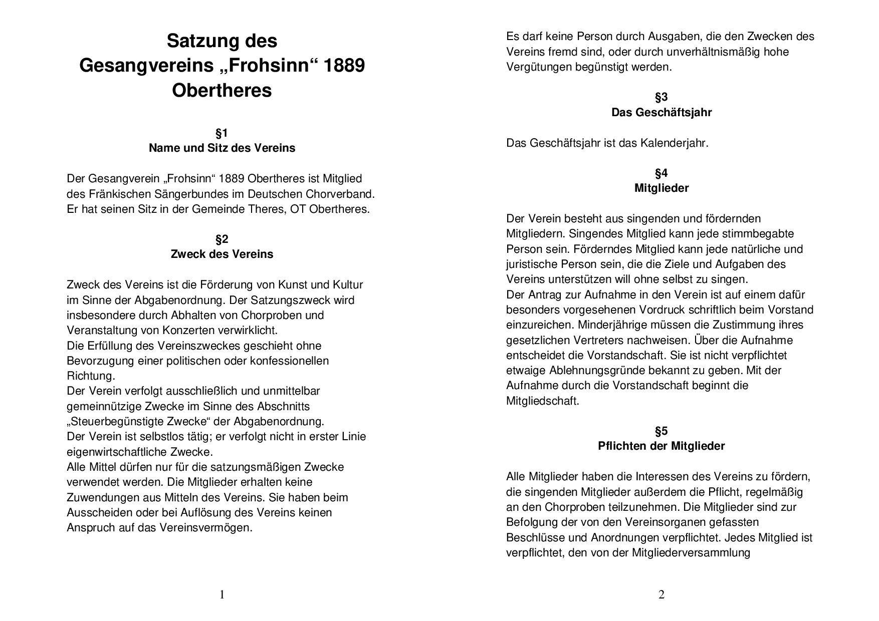 Die Satzung des Gesangvereins Obertheresin der