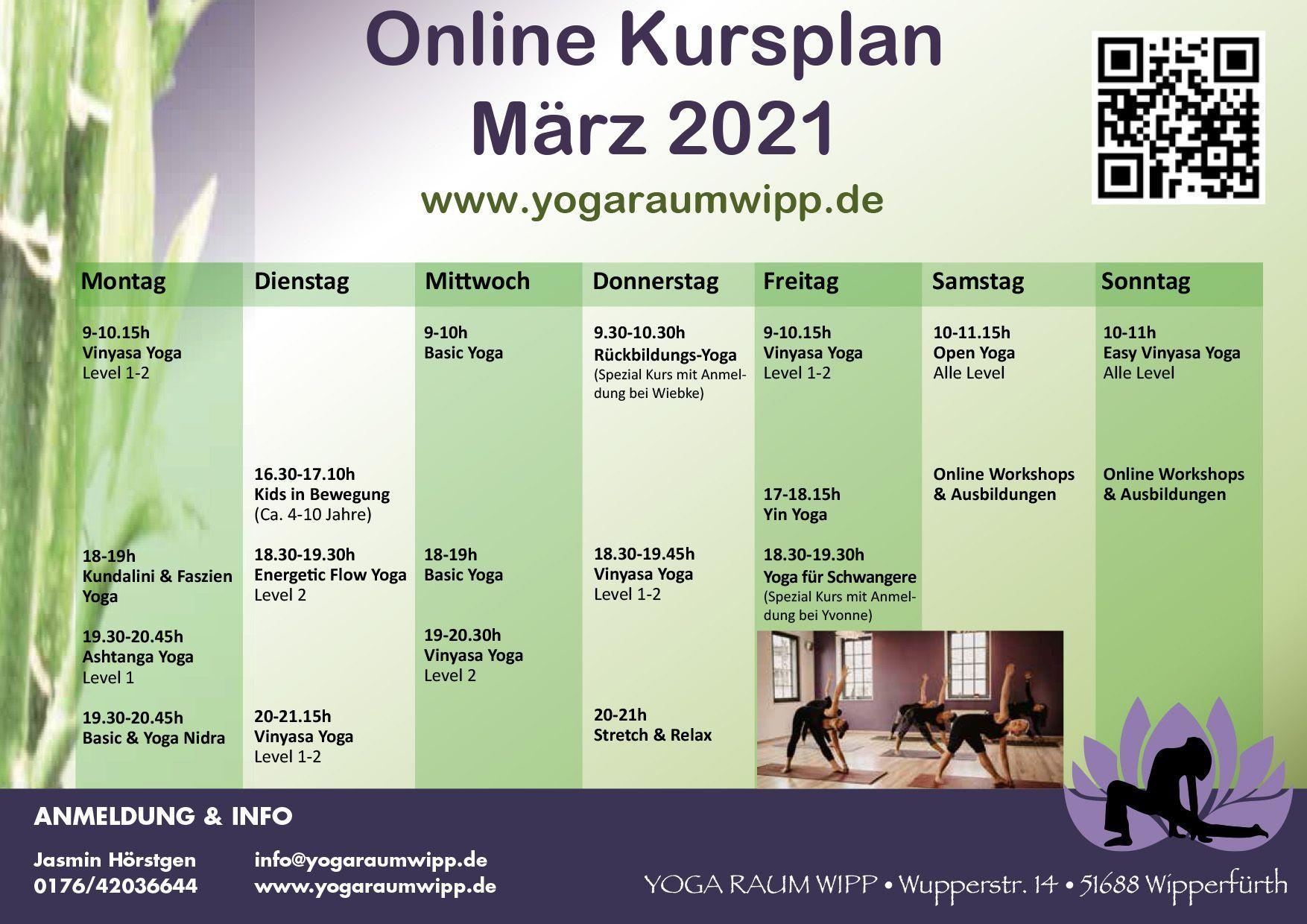 Kursplan März 2021 | Yoga Raum Wipp