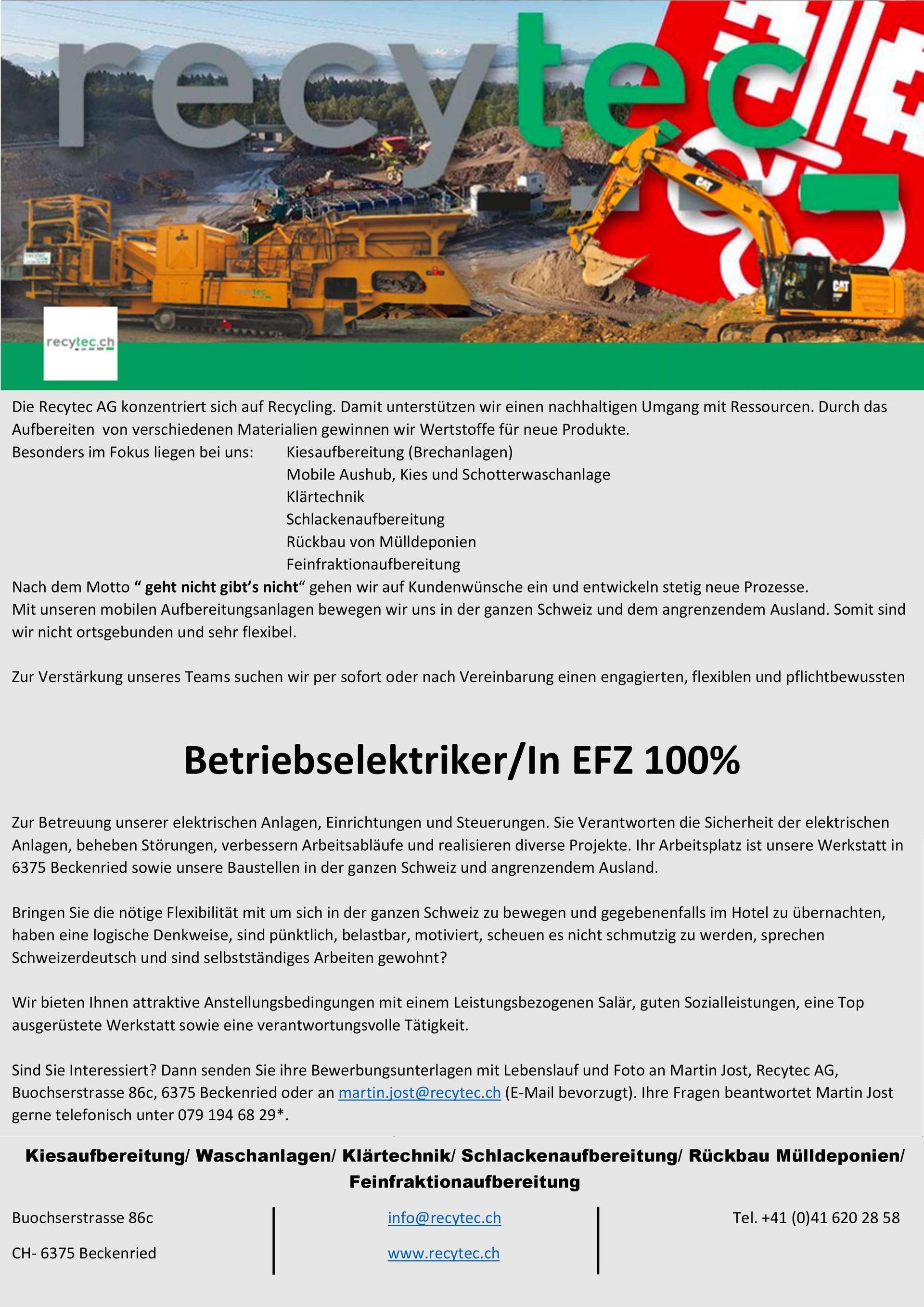 Stellen | recytec AG