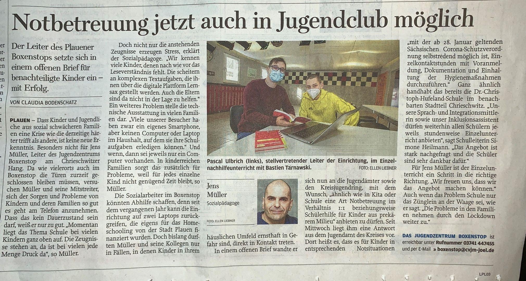 Zeitungsartikel der Freien Presse vom 02.02.