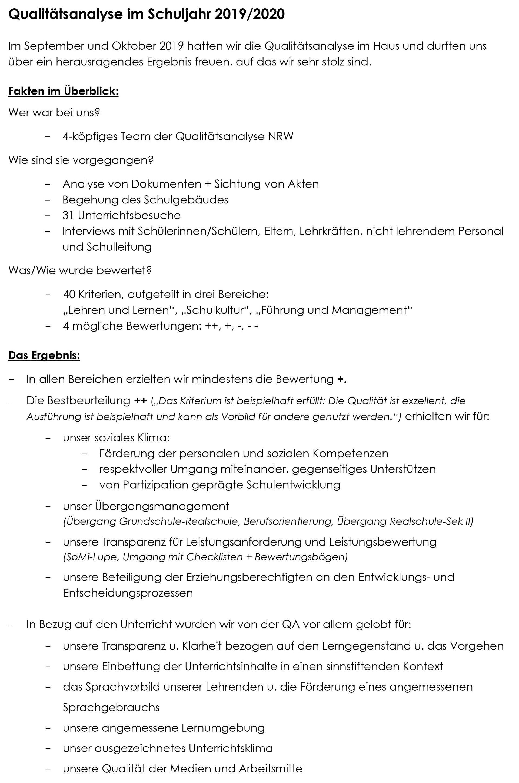 Zusammenfassung der QA2019/20 - Qualitätsanalyse