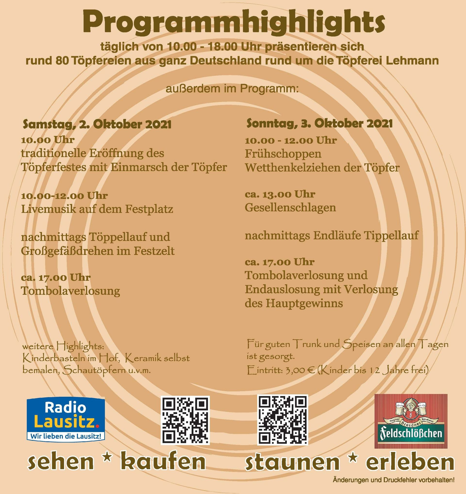 Öffnungszeiten | Töpferfest Neukirch/L.