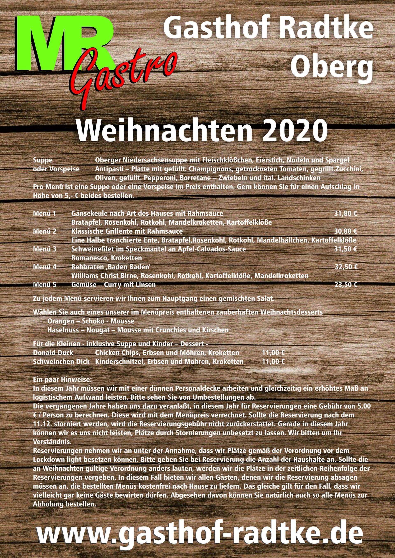 Weihnachten 2020 | Gasthof Radtke