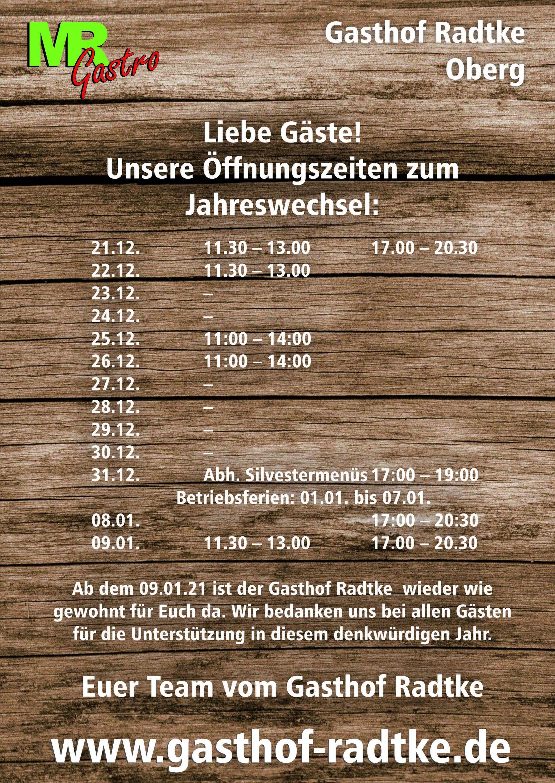 ÖFFNUNGSZEITEN - Öffnungszeiten | Gasthof Radtke