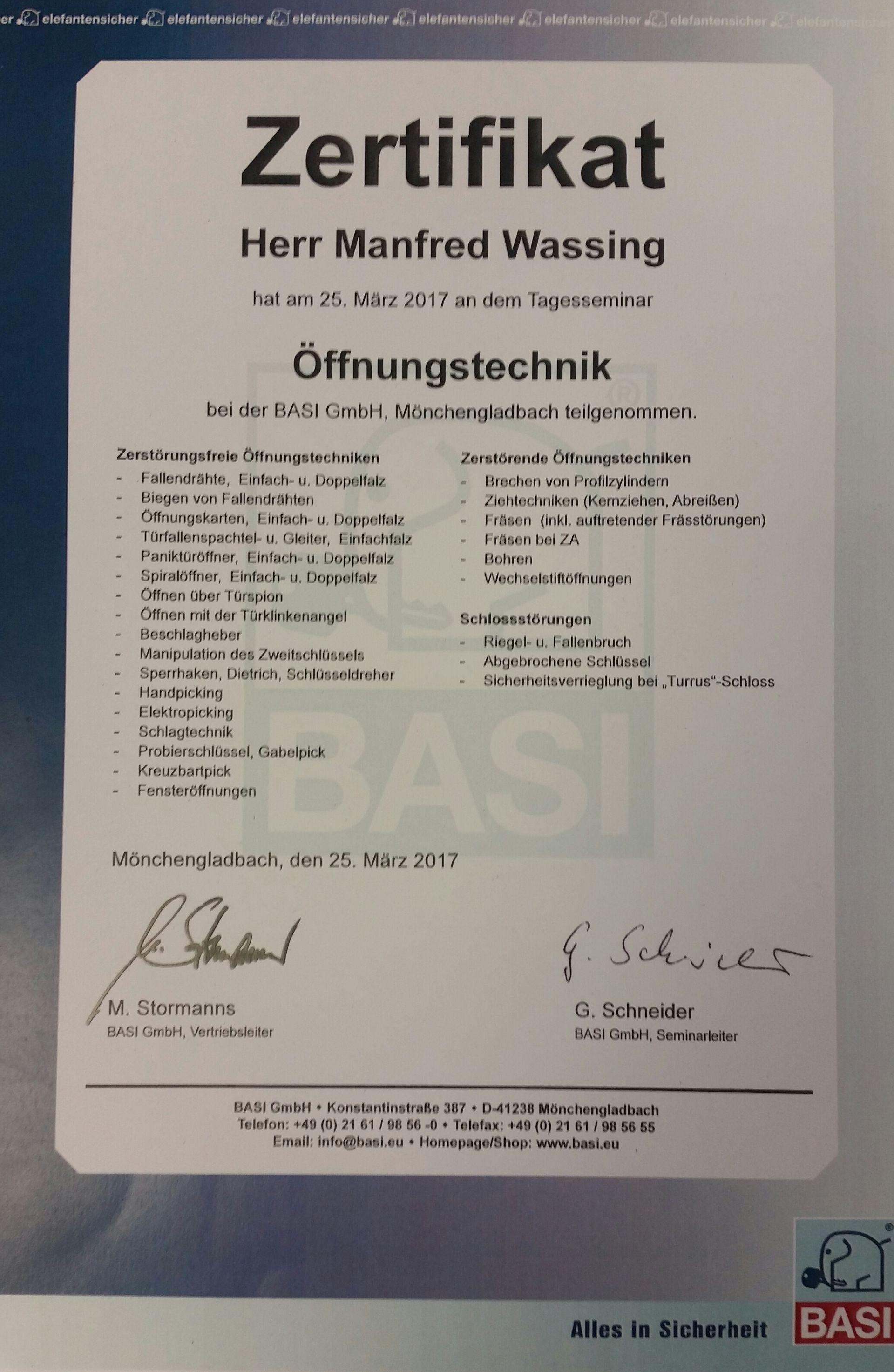 #Zertifikat Öffnungstechnik | ManniSchuh Wassing