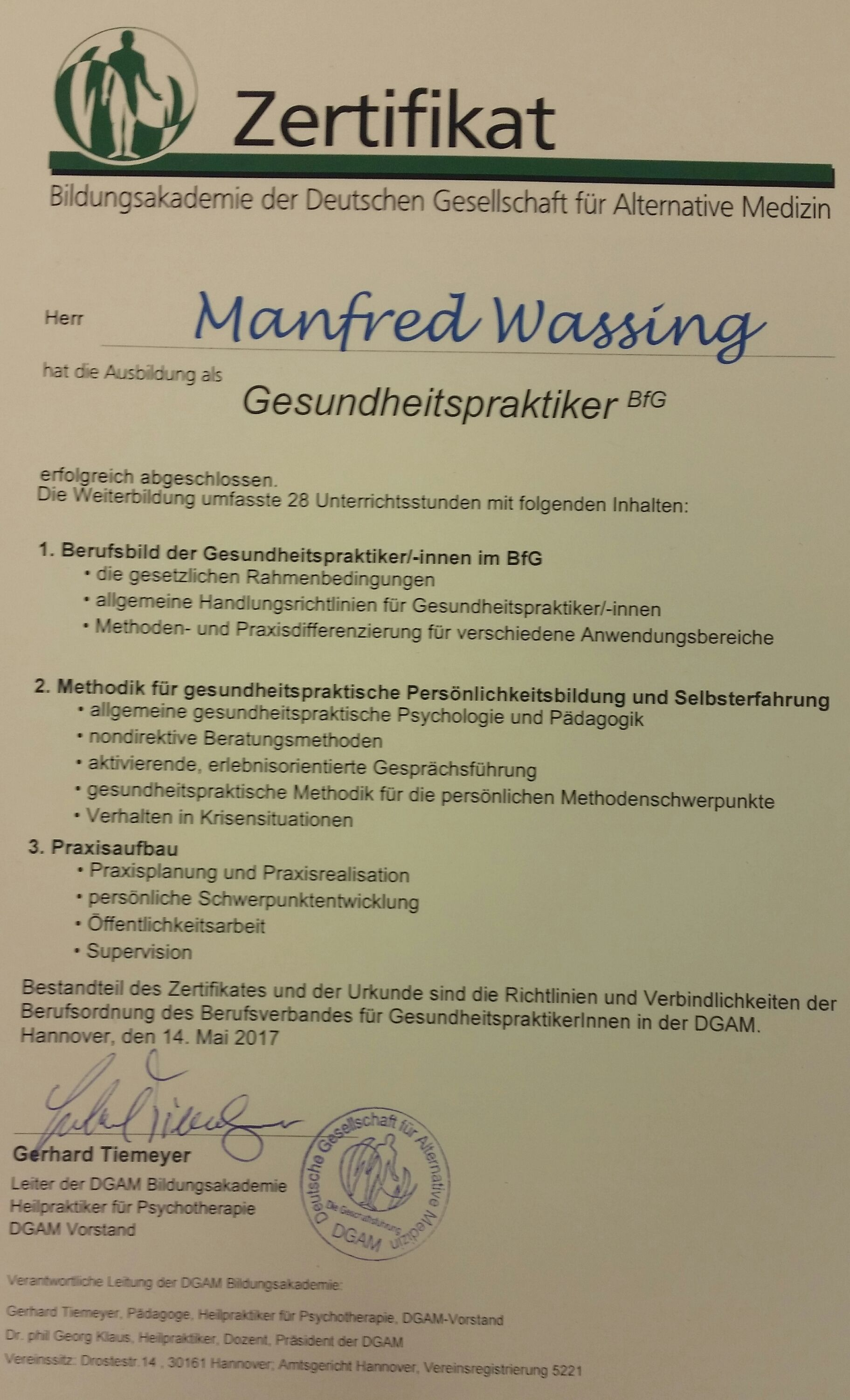 Gesundheitspraktiker | ManniSchuh Wassing