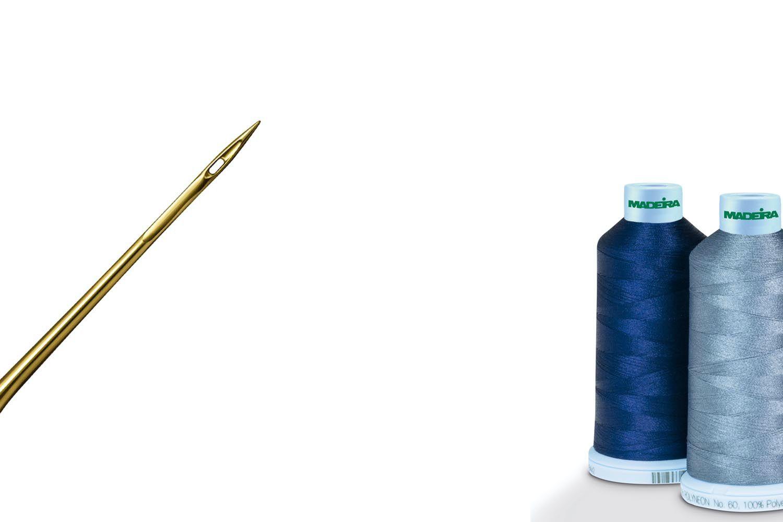 Textilien mit Druck und Stick veredelt