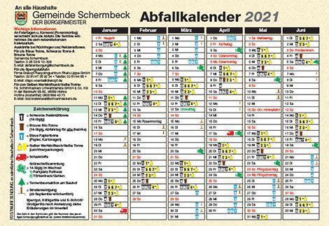 Abfallkalender der Gemeinde Schermbeck für das