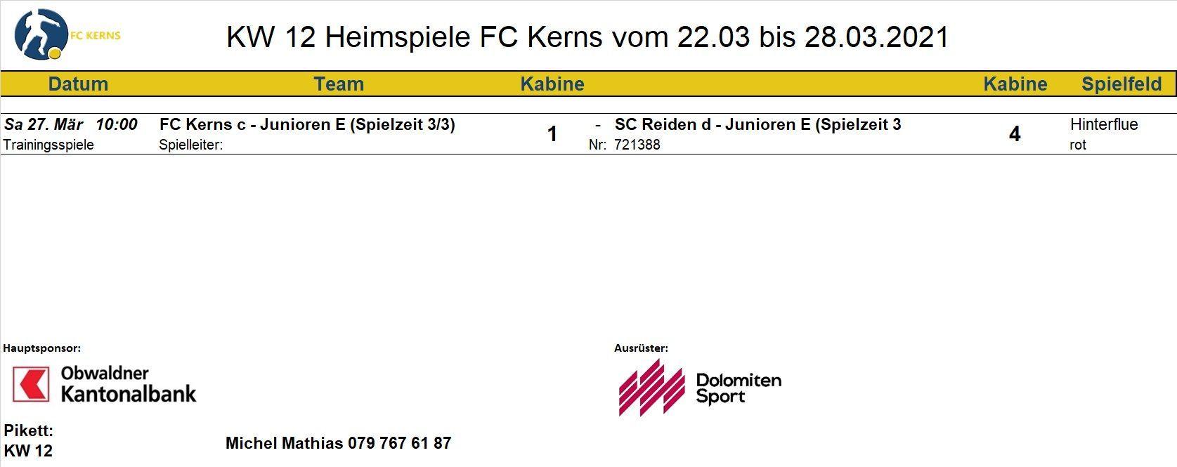 Aktuelle Spiele der FC Kerns Teams | FC Kerns