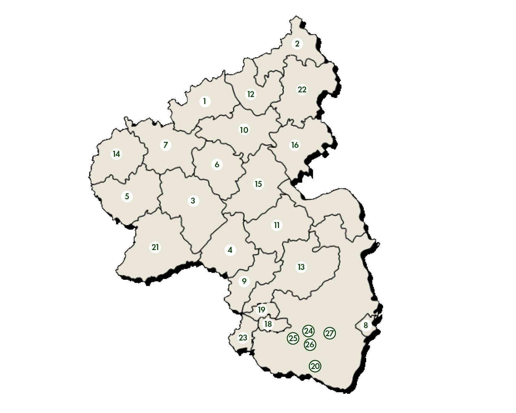 Geschäftsstellen der Waldbauvereine