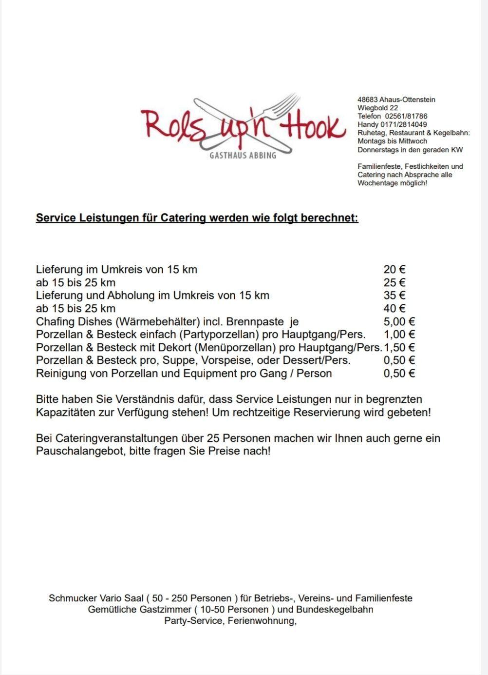 LEISTUNGEN FÜR CATERING - Serviceleistungen
