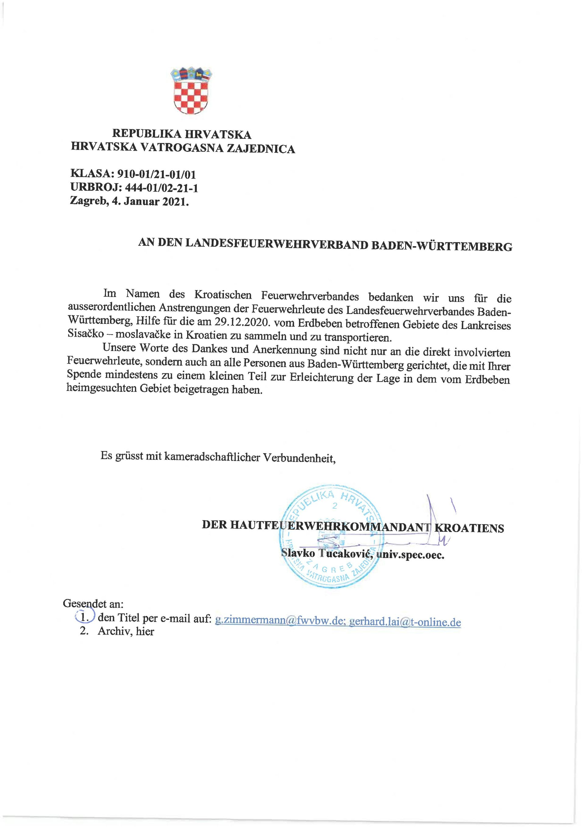 Kroatienhilfe des Landesfeuerwehrverbandes