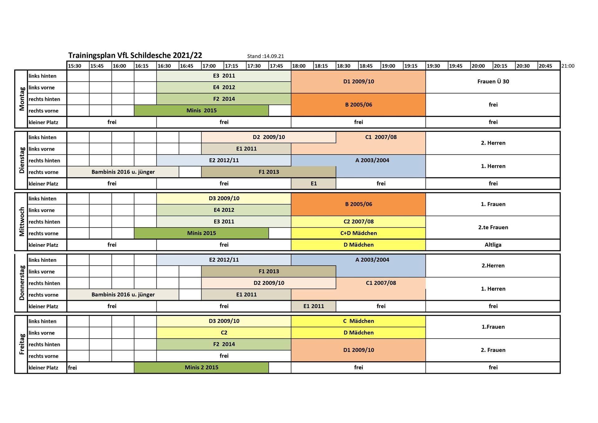 Trainingsplan 2021/2022 | vfl-schildesche