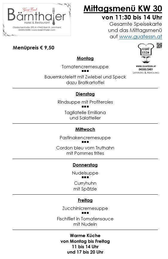 Mittagsmenü & Speisekarte - Menü & Speisekarte