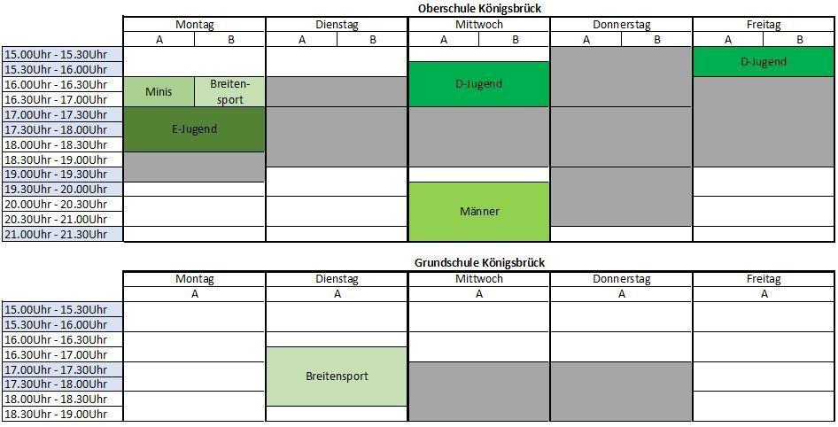 Trainingszeiten Überblick   SV Lok Königsbrück