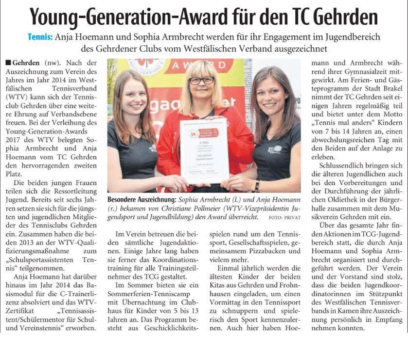 Young Generation Award 2018 | Tennisclub Gehrden