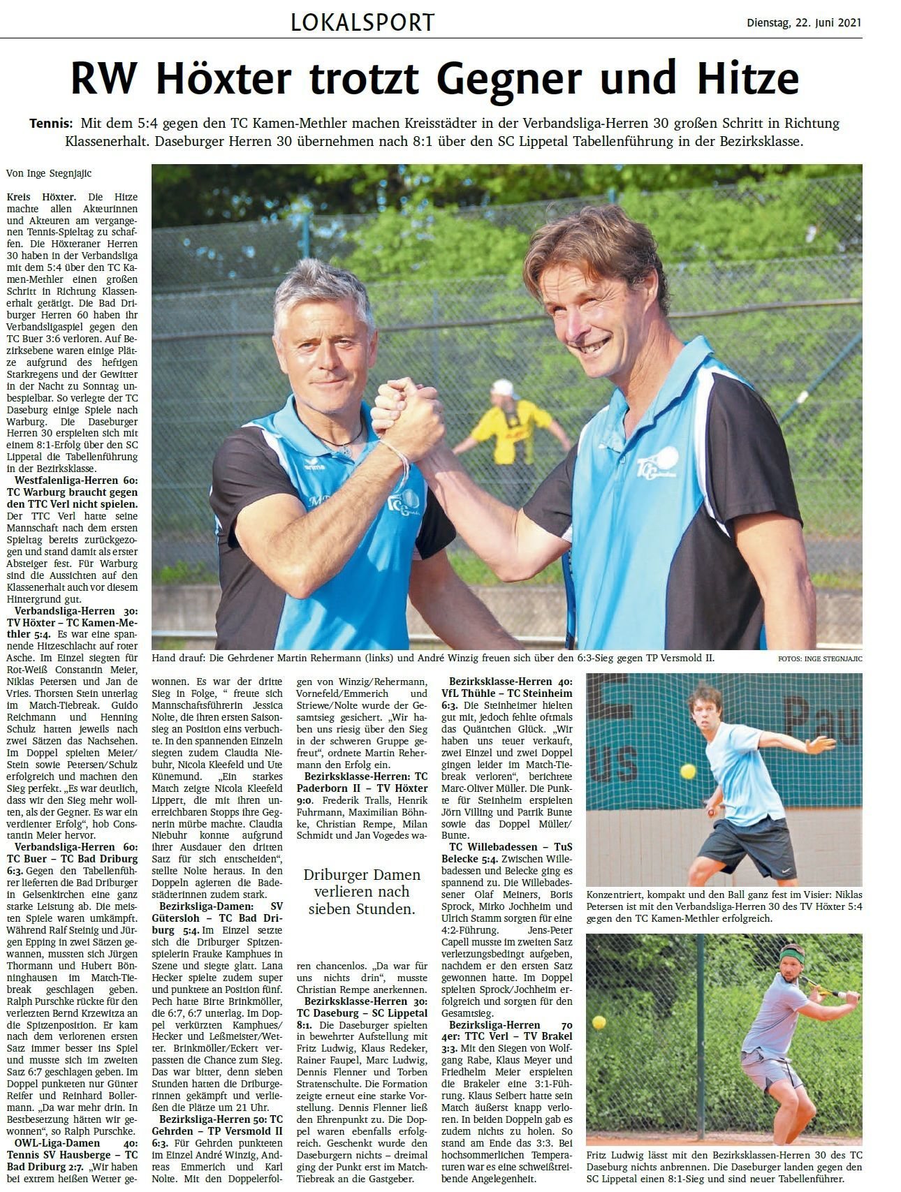 Zeitungsberichte TCG | Tennisclub Gehrden