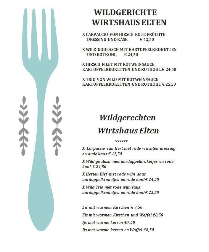 Speisekarte | Menukaart | Wirtshaus Elten
