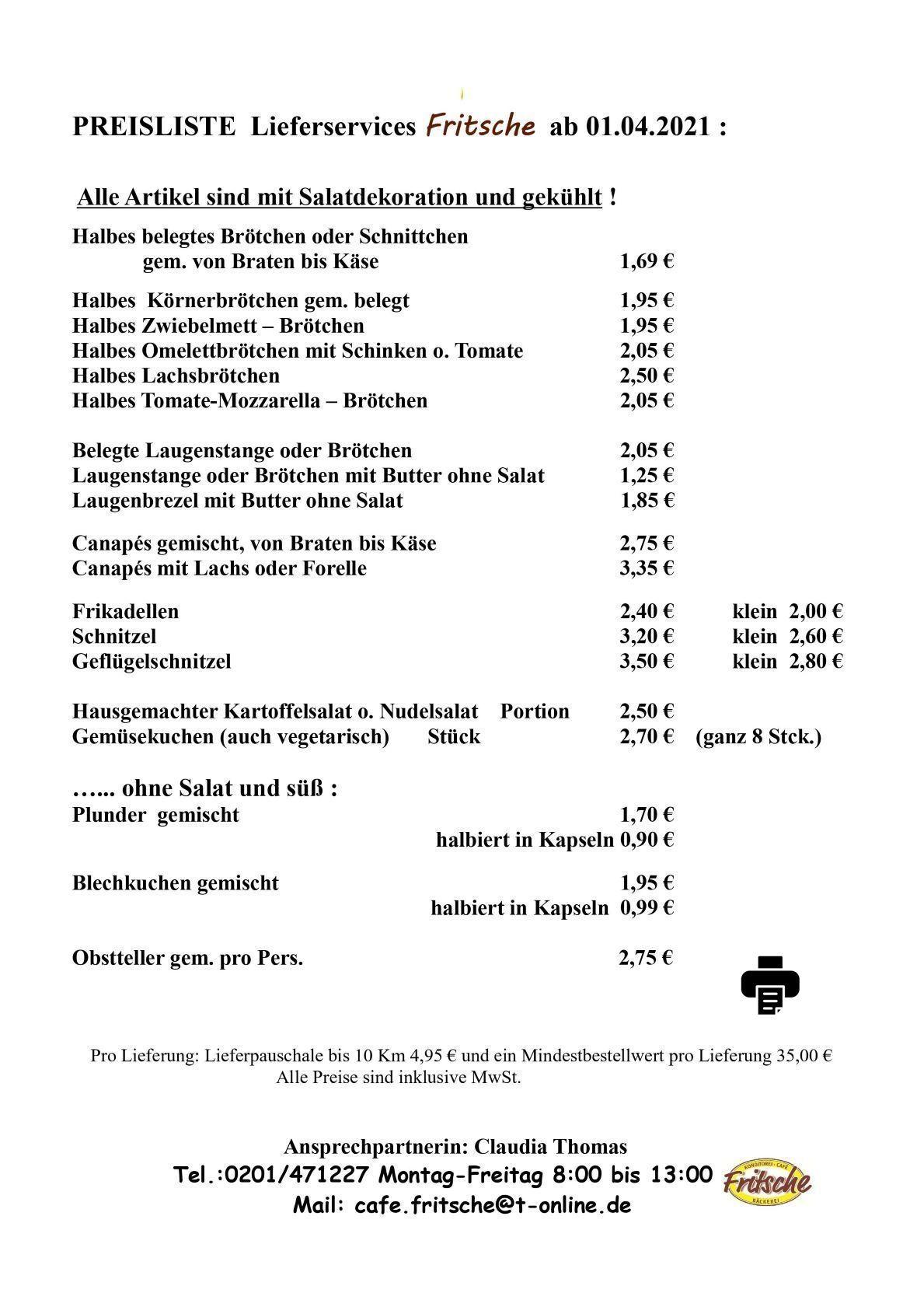 Lieferservice | Konditorei Fritsche
