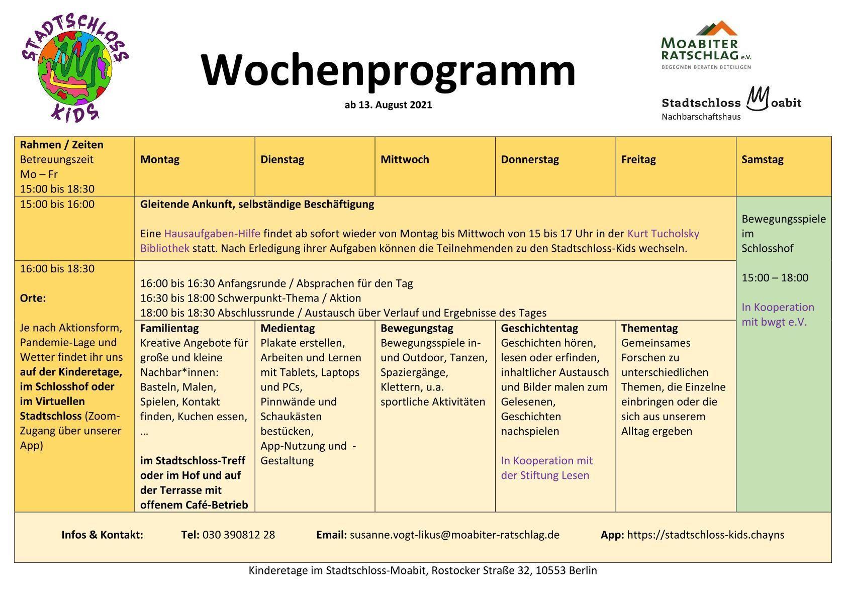 Öffnungszeiten / Wochenplan   Stadtschloss Kids