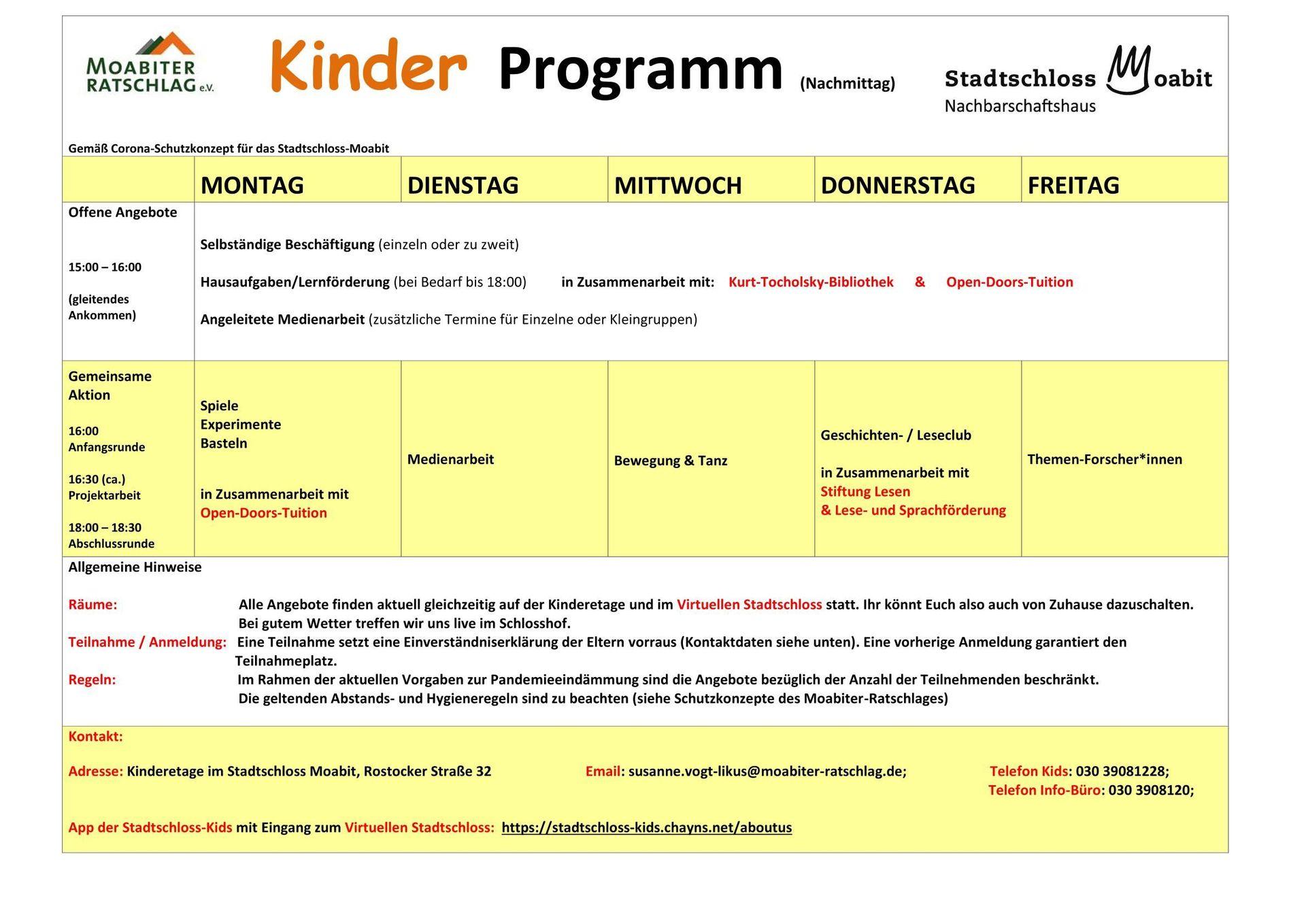 Öffnungszeiten / Wochenplan | Stadtschloss Kids