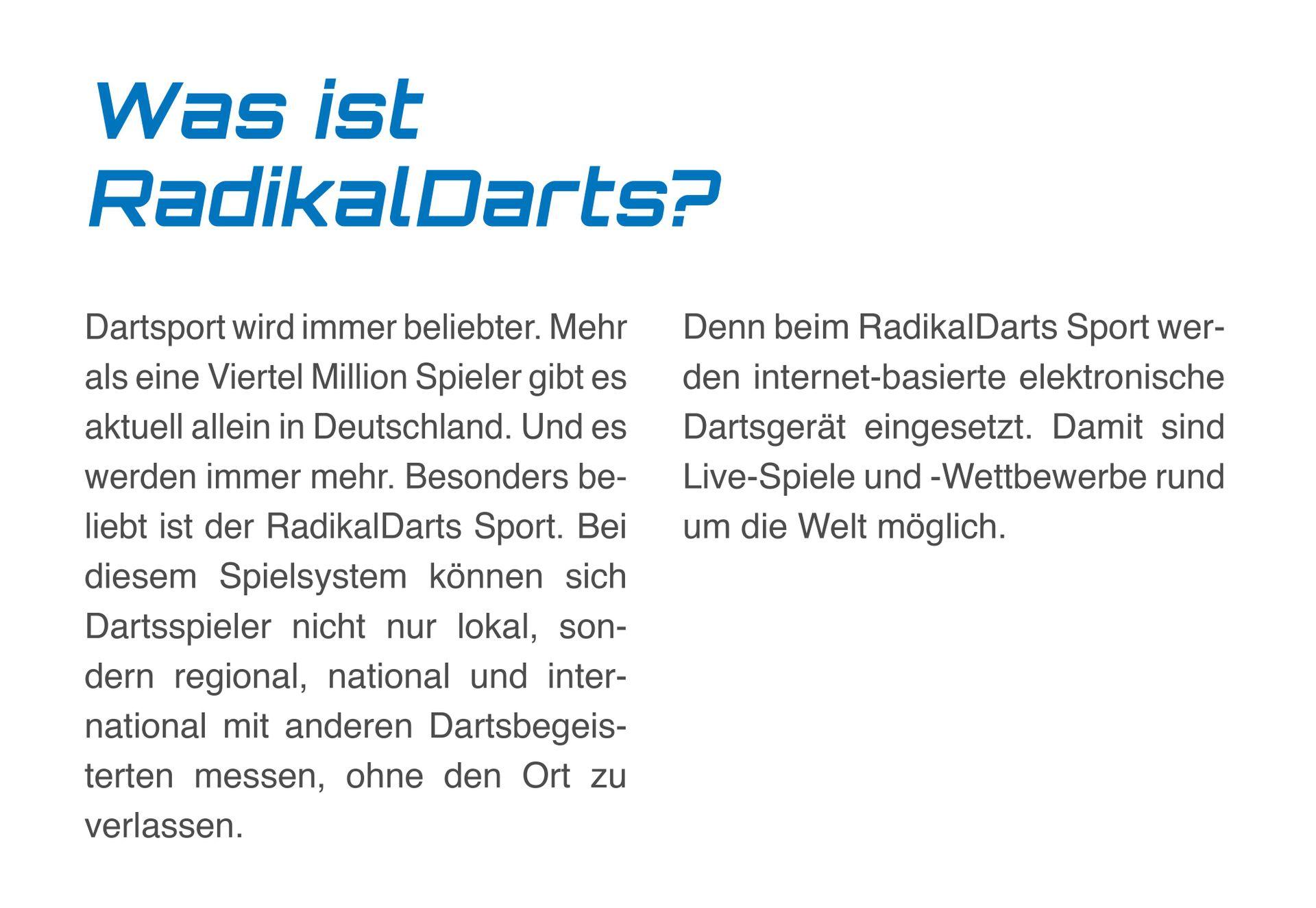 Was ist RadikalDarts? | RDTO GmbH & Co. KG