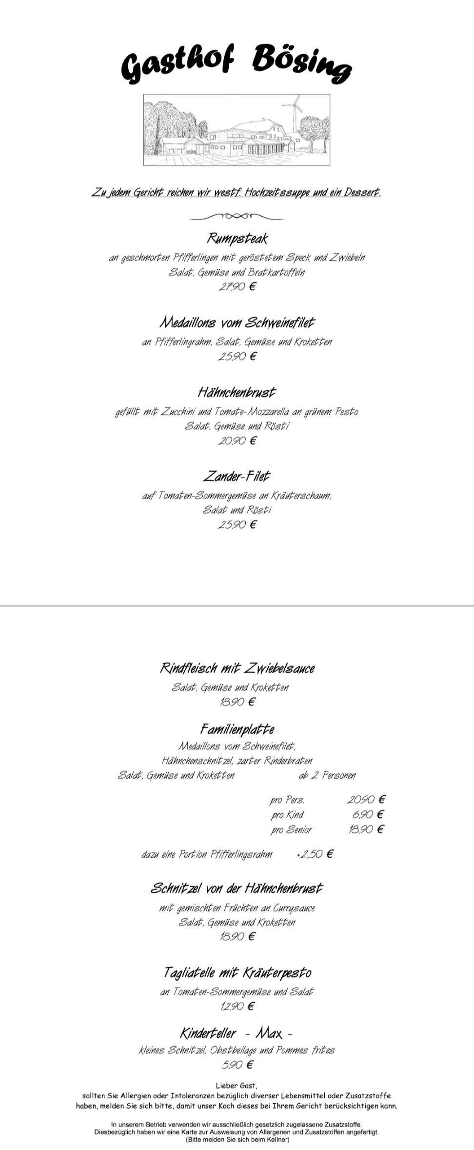 Speisekarten | Gasthof Bösing