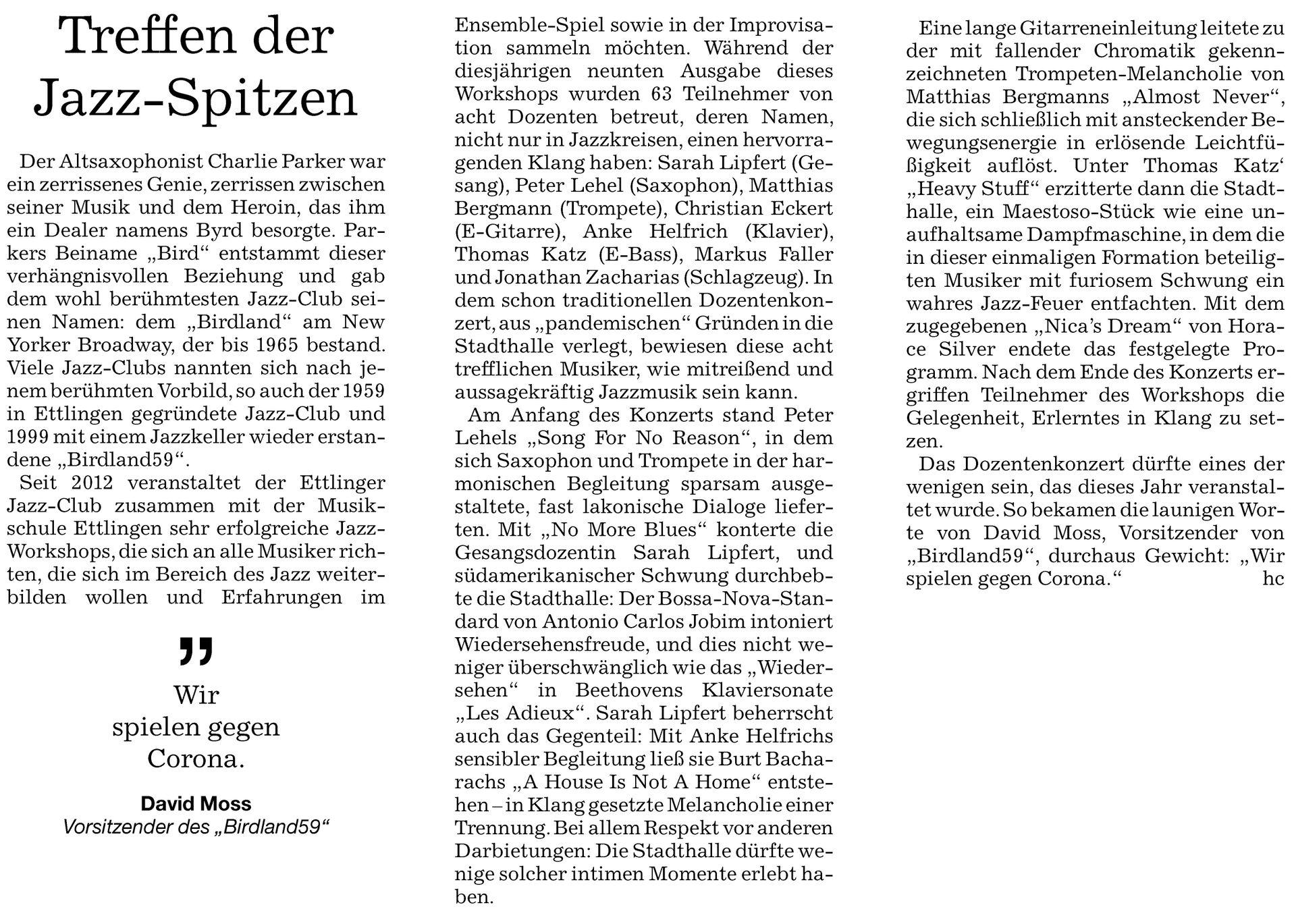 Presse   Jazz-Club Ettlingen
