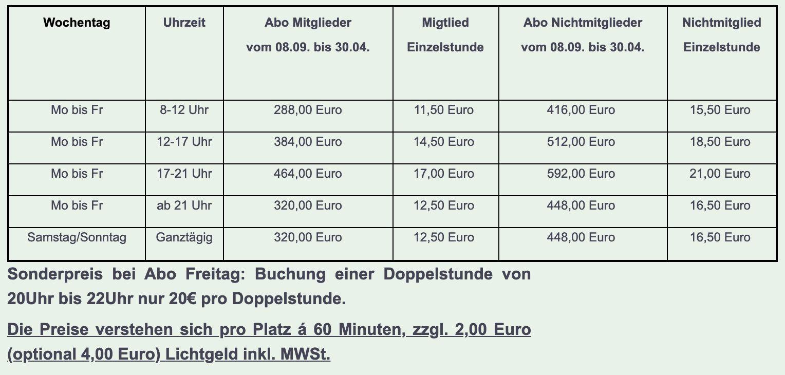 Hallenpreise / -buchung - Hallenbuchung