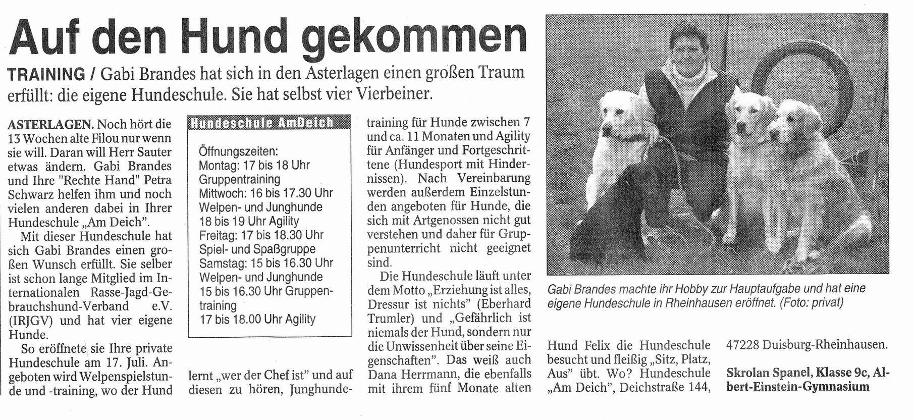 Presseberichte | Hundeschule am Deich